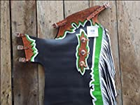 Hilason Bull Riding Smooth Leather Pro Rodeo Western Chaps Black Green White from HILASON
