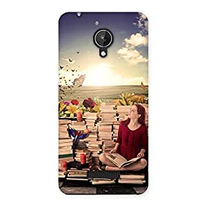 Wonderful Cute Book Girl Back Case Cover for Micromax Canvas Spark Q380