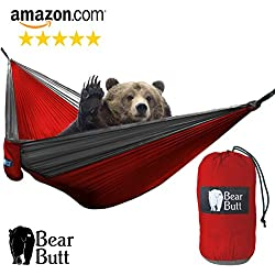 "Bear Butt #1 Double Parachute Camping Hammock *START UP COMPANY ""Shaking The Eagle Out Of The Nest Since 2015"" (Red / Gray)"