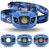 【Sunix】 ハイパワー LEDヘッドライト 2000mAhのリチウム充電電池、長いバッテリ寿命 【明るさ120ルーメン/実用点灯10時間】【完全防水】【調光モード、夜間モード、ストロボモード】夜の作業 夜釣り キャンプなどのアウトドア活動に適用 (ブルー)LD415