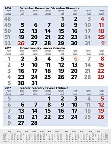 3-Monats-Planer Comfort Blau 2017: Vor- und Nachmonat, mit Datumsschieber