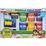 RoseArt Washable Sidewalk Chalk Paint, Big Super Set with 8 Colors & 2 Foam Brushes