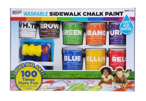 RoseArt Washable Sidewalk Chalk Paint, Big Super Set, 8 Colors, 2 Foam Brushes (46993)