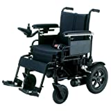Drive Medical Cirrus Plus Folding Power Wheelchair with Footrest and Batteries, Black, 16″