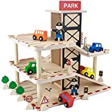 Wooden Wonders Downtown Deluxe Parking Garage with Elevator - Cars and More Included! by Imagination Generation