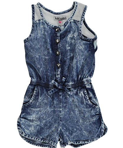 "Kensie Baby Girls' ""Vintage Wash"" Romper - medium blue, 24 months"