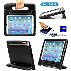 iPad 5, iPad Air Case- Kids Light Weight Kido Series Multi Function Convertible Handle Kickstand Kids Friendly Protective Shockproof Cover Case with Stand & Handle for Apple iPad Air (Black)