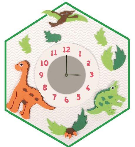 Bastelset 3-D Uhr / elektrische Wanduhr / Uhr – Dino Junge grün Tiere online kaufen