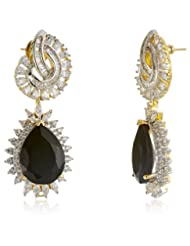 Azotique Pearl Drop Earrings For Women (Black And White) (AZ ER 8)