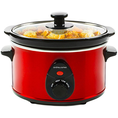 Andrew James Premium Red Slow Cooker Pot with 3 Heat Auto Setting