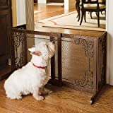 """22""""H Free-standing Steel Mesh Pet Gate - 40""""W - 70""""W - Frontgate Dog Gate"""