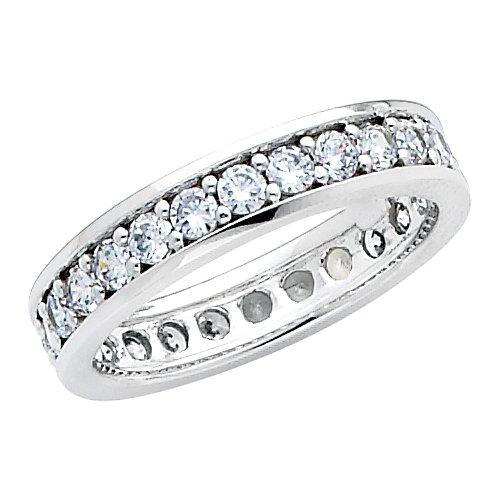14K White Gold Round-shape CZ Cubic Zirconia Eternity Ring Band - size 5