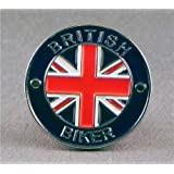 Metal Enamel Pin Badge Brooch British Biker Motorcycle Union Jack Circle
