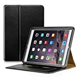 iPad Air 2 Case, Premium PU Leather Flip Folio Cover , Ultra Slim Wallet Case Luxury Holster with [Card Slots] and Kickstand Smart Cover Auto Sleep / Wake Feature for Apple iPad Air 2 / iPad 6 (Black)