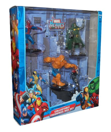 Marvel Heroes Collectible Figurines Box Set - includes spiderman, thing, wolvering, dr doom, and black widow