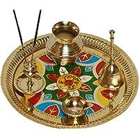 SWSRangoli Diwali Gift Item Brass Pooja & Thali Set(5 Pieces, Multicolor)