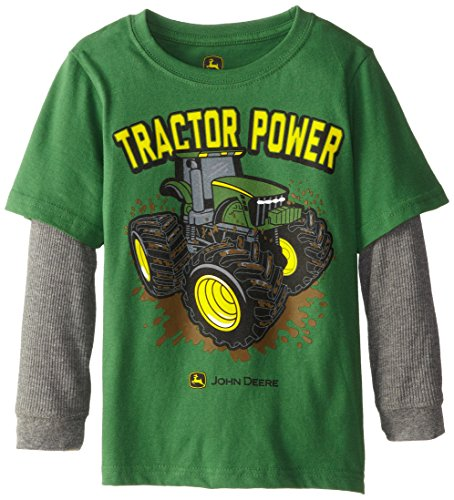 John Deere Little Boys' Layered Thermal Sleeve Tractor Power Tee, Green, 5 front-623881
