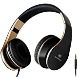 Sound Intone I65 2015 New Foldable 3.5mm Hi-Fi Stereo Over-ear Swivel Cups Headphones, Portable Stretch Headsets With Ergonomics Wear Design Noise Cancelling, for PC/Smart Phone/Iphone6 /Ipad/Samsung /Psp/ Ipod/Mp3 Player/Android (Black/Gold)