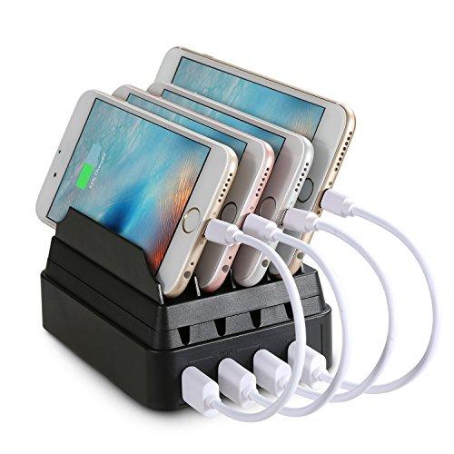 Mixmart 4ポートUSB デバイス 充電ステーション ドック 多功能充電スタンド 充電器 スマートフォンスタンド タブレット対応 4個USBポート同時充電 iphone iPad対応