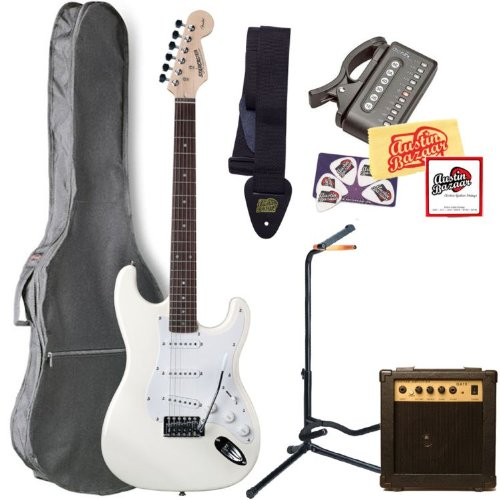 Fender Starcaster Strat Electric Guitar Bundle with 10-Watt Amp, Gig Bag, Guitar Stand, Strings, Tuner, Strap, Picks, and Polishing Cloth - White