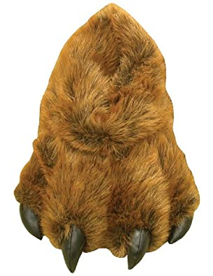Grizzly Bear Paw Furry Slippers Medium - Kids 7-13 Women 5-9.5 Men 6-9