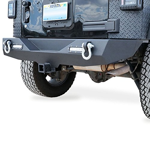 GENSSI Rear Bumper for Jeep Wrangler JK 2007-2016 with D-Rings and LED Reverse Lamps (Rear Bumper Lights compare prices)