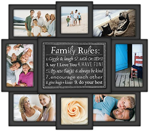 Malden-International-Designs-Family-Rules-8-Opening-Dimensional-Collage-Black-Picture-Frame-6-4-by-6-Inch