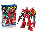 Magnificent red I Robot Gundam Diamond Blocks 814pcs Toy Set, 3D Figure Micro Blocks Fun Parent and Child Game. Fun Education Play Set.