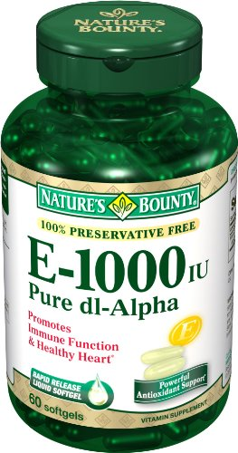 Nature's Bounty E 1000IU, Pure d1-Alpha, 60 Softgels (Pack of 2)