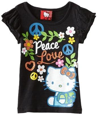 Hello Kitty Little Girls' HK Peack And Love Tee, Black, 5