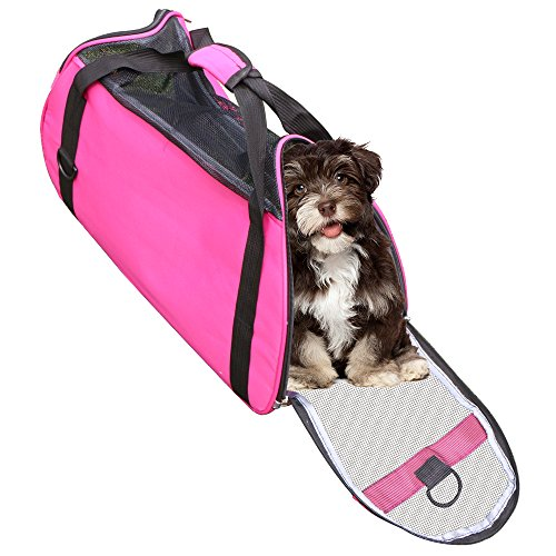 Pet Travel Carrier Bags,Linka Soft Sided Dog Carrier Pet Travel Portable Bag Home for Dogs, Cats and Puppies Foldable Washable Travel Carrier,Outdoor Pet Travel Carrier Mesh Rose Red