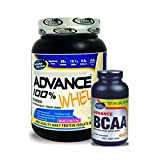 Advance BCAA 180 Capsules& ADVANCE 100% WHEY 25gm Protein Per 33gm 1kg Vanilla (Combo Offer)