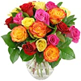 Colourful Rainbow Roses Fresh Flower Bouquet