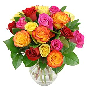 Colourful Rainbow Roses Fresh Flower Bouquet