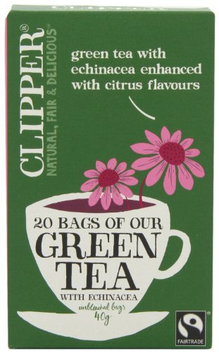 Clipper Fairtrade Green Tea with Echinacea 20 Teabags (Pack of 6, Total 120 Teabags)