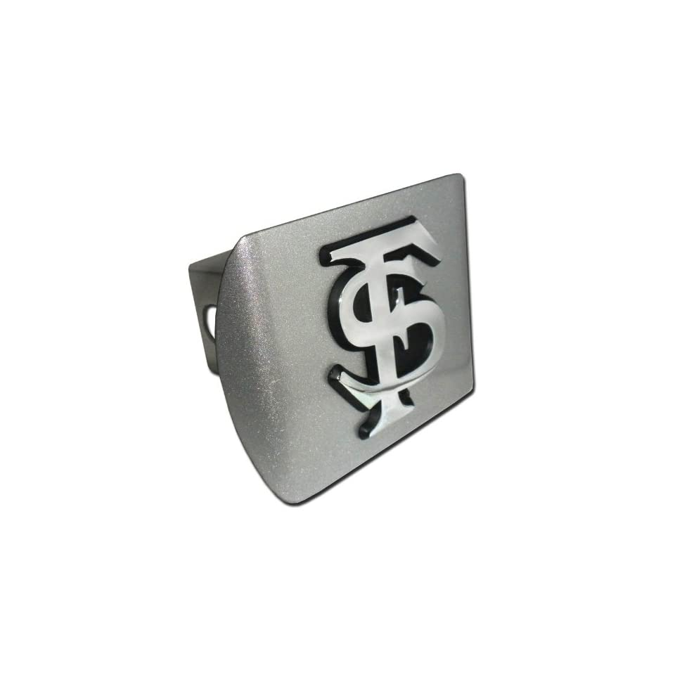 Florida State Seminoles Brushed Silver Finish with Chrome FS Emblem  NCAA College Sports Metal Trailer Hitch Cover Fits 2 Inch Auto Car Truck Receiver