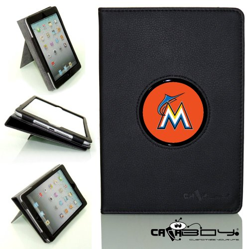New SLEEP SMART Apple iPad Air (5th Gen) Ipad 5 leather Case By Calaboy- Interchangeable Design - Personalized Picture Frame w Miami Marlins Logo (BB28) at Amazon.com