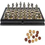 Pewter Civil War Chess & Checkers Set with a 15 inch Camphor Wood Board with Storage Drawer