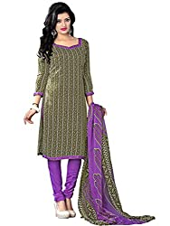 Anjali Presents Attractive Olive Green & Purple Coloured Printed Dress Material
