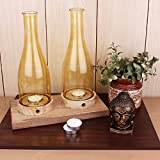 EarthenMetal Handcrafted Glass And Wood Dual Candle Light Holder - B01H3RA520