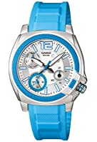 Casio Women's LTP1320B-2A2V Blue Resin Quartz Watch with Silver Dial