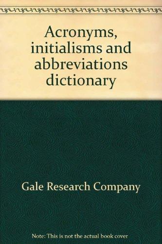 Acronyms Initialisms Abbreviations Volume 1, Crowler, Ellen T