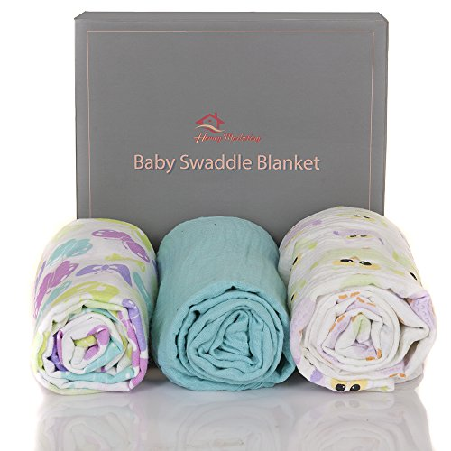 Homey Marketing Baby Muslin Swaddle Blanket Set - Multi Use & Super Soft 100% Natural Cotton - 47