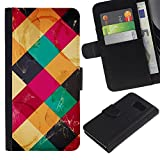 For Samsung Galaxy S6 SM-G920,S-type® Modern Art Coffee Table Colorful Marks - Drawing PU Leather Wallet Style Pouch Protective Skin Case