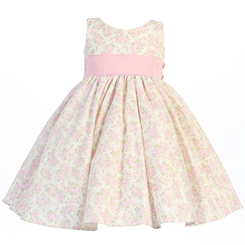 Lito Baby Girls Pink Floral Print Poly Shantung Sash Easter Dress 3-24M