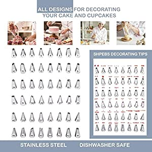 Shpebs UPDATED Ultimate Cake Decorating Supplies Kit-100 Pcs Baking Supply Set | Rotating Turntable Stand | Icing Piping Tips & Bags | Smoother & Spatulas, Frosting & Pastry Tools, Icing Pattern Chart (Color: blue white silver)
