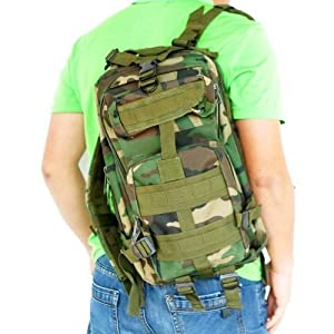 ZHOL® Sport Outdoor Military Rucksacks Tactical Molle Backpack Camping Hiking Trekking Bag (Woodland Camouflage