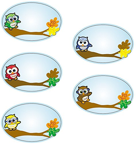 "1 Roll ~ Owl Name Tag Stickers ~ Approx. 3 1/2"" X 2 1/4"" ~ Paper ~ New / Shrink-wrapped"
