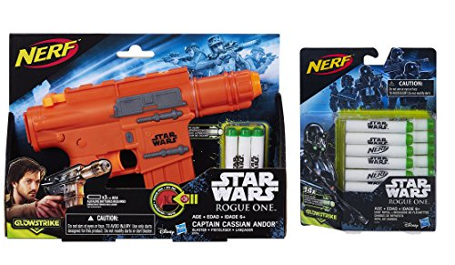 Star Wars Rogue One Captain Cassian Andor Nerf Blaster Bundle with GlowStrike Dart Refill (14 Pack)