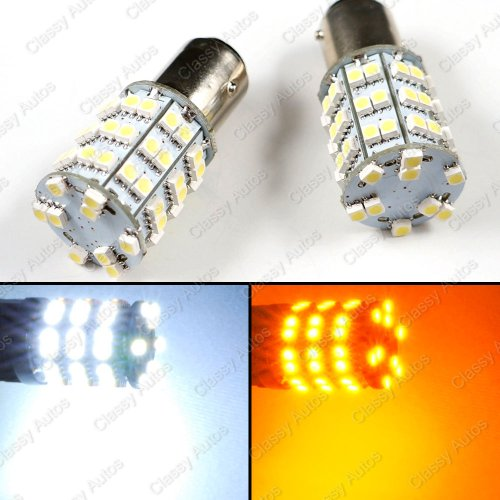 Classy Autos 1157 Dual Color Led Switchback Turn Signal Lights 2357 White + Amber Yellow With Load Resistors